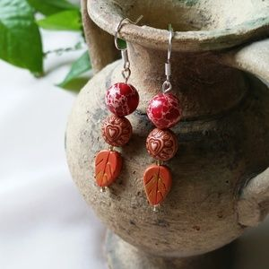 Fall color dangle earrings with Red Jasper